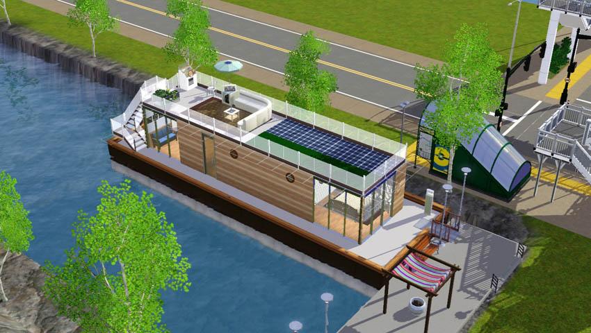 Sims3Lot[エコでソーラーなハウスボート]