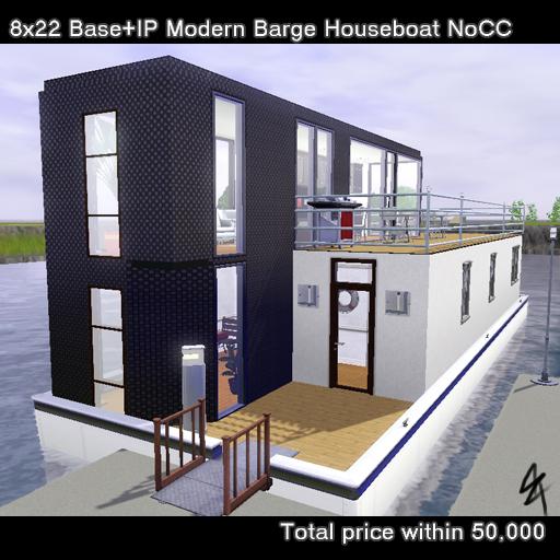 大きなデッキのあるはしけ型ハウスボート