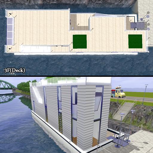 こじゃれた運河用ハウスボート