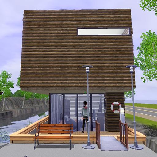 木造だけどちょっと豪華でモダンなハウスボート