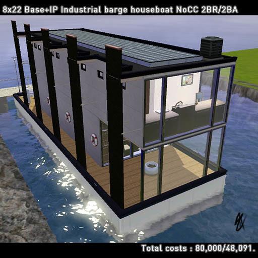 工業デザイン的なはしけ型ハウスボートの作成